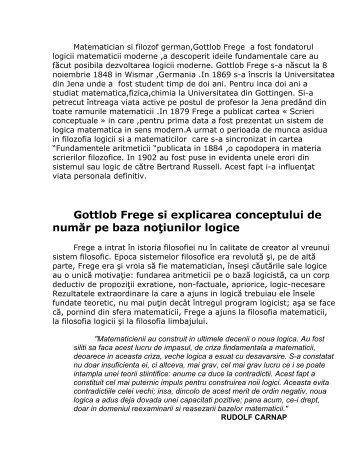 Gottlob Frege si explicarea conceptului de număr pe ... - ReferateOK