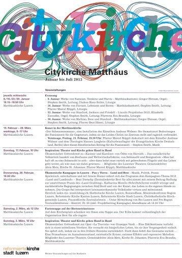 0 2 2013 Programm Citykirche Matthäus Januar bis Juli