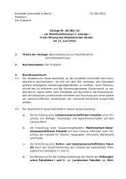 Humboldt-Universität zu Berlin 30. Mai 2013 Präsidium Der ... - RefRat