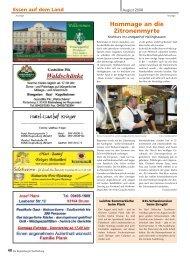 Essen auf dem Lande - Regensburger Stadtzeitung