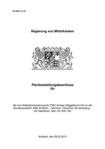 Planfeststellungsbeschluss vom 28.02.2013 - Regierung von ...