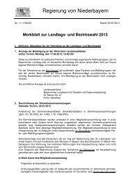 Merkblatt Wahlen - Die Regierung von Niederbayern