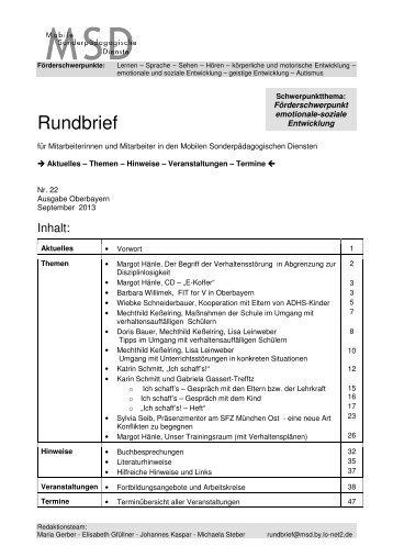 MSD-Rundbrief 21 - Regierung von Oberbayern