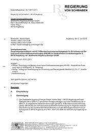 Genehmigungsbescheides - Regierung von Schwaben - Bayern