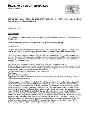 Etikettierung Grundregeln Fränkischer Federweißer - Regierung von ...