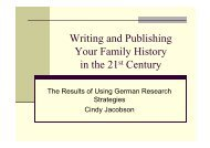 Writing and Publishing Your Family History in the 21 ... - FEEFHS