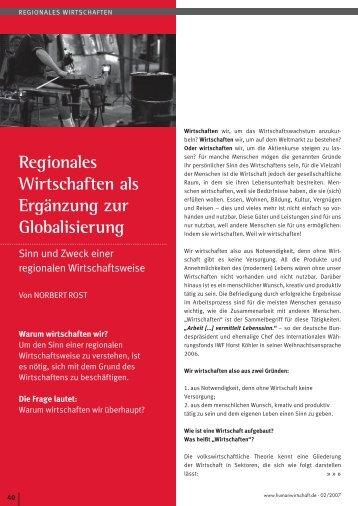 Regionales Wirtschaften, Zeitschrift ... - Regiogeld-mv.de