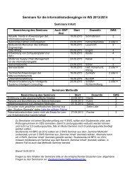 Seminare für die Informatikstudiengänge im WS 2013/2014