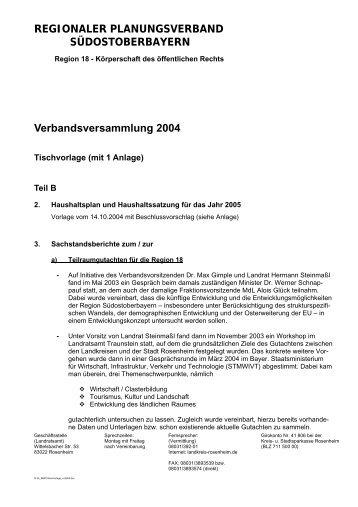 Tischvorlagen - Regionaler Planungsverband Südostoberbayern