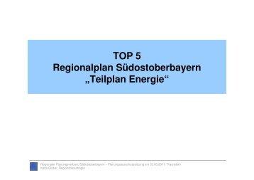 Teilplan Energie - Regionaler Planungsverband Südostoberbayern