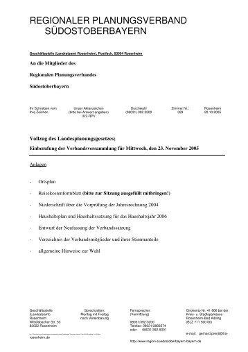 Einladung VV 2005 - Regionaler Planungsverband Südostoberbayern