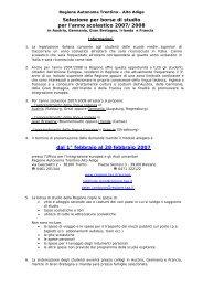 Selezione per borse di studio per l'anno scolastico 2007/2008 dal 1 ...