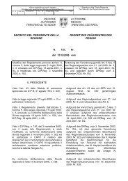 Verordnung - Regione Autonoma Trentino Alto Adige