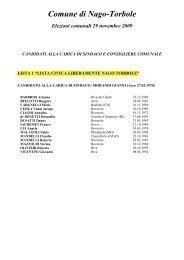 Liste dei candidati comune di Nago-Torbole