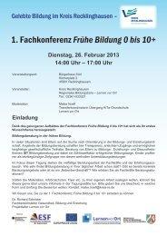 1. Fachkonferenz Frühe Bildung 0 bis 10+ - Regionale ...