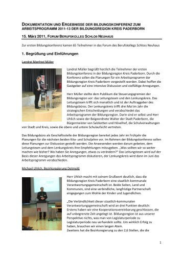 15. März 2011, F 1. Begrüßung und Einführungen - Regionale ...
