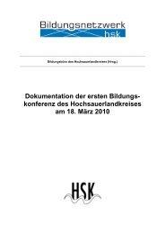 Dokumentation der ersten Bildungs - Regionale Bildungsnetzwerke