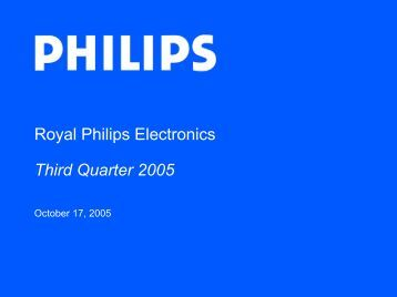 Royal Philips Electronics Third Quarter 2005