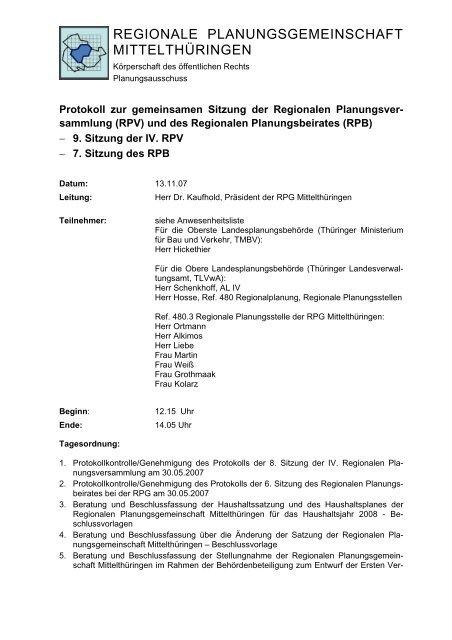 Bericht Regionale Planungsgemeinschaften In Thuringen