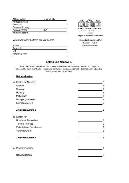 Betriebskosten - Regionalverband Saarbrücken