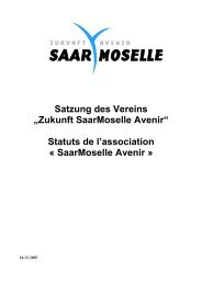 "Satzung des Vereins ""Zukunft SaarMoselle Avenir"" Statuts de l ..."