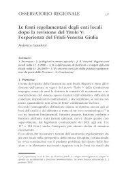 Le fonti regolamentari degli enti locali dopo la revisione del Titolo V ...