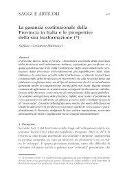La garanzia costituzionale della Provincia in Italia e le prospettive ...