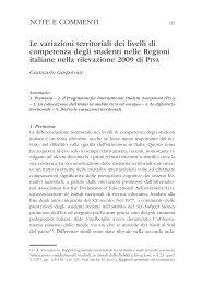 Le variazioni territoriali dei livelli di competenza degli studenti nelle ...
