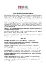 Premiati alle precedenti edizioni - Regione Piemonte