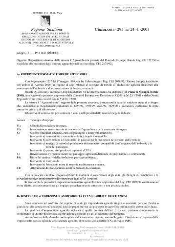 Regione Siciliana CIRCOLARE n° 291 del 24 -1 -2001