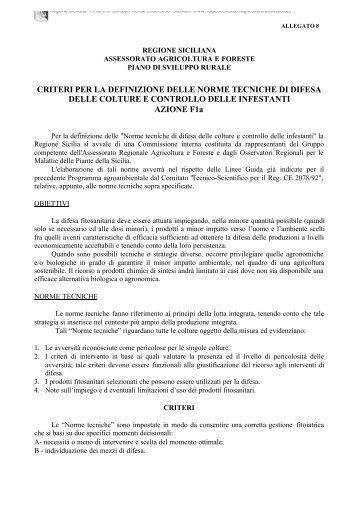 CRITERI PER LA DEFINIZIONE DELLE NORME ... - Regione Siciliana