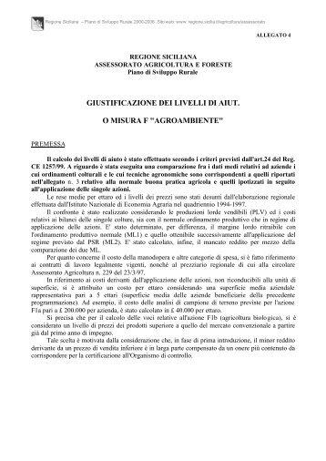 giustificazione dei livelli di aiut. o misura f ... - Regione Siciliana