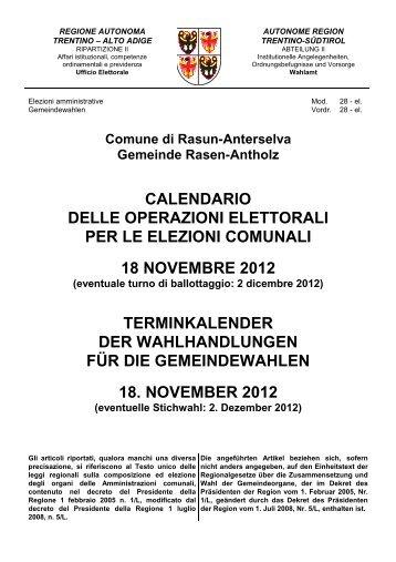Calendario delle operazioni elettorali per le elezioni comunali