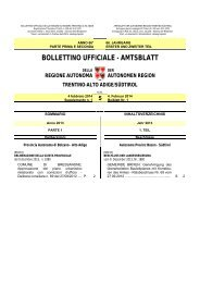BOLLETTINO UFFICIALE - AMTSBLATT - Regione Autonoma ...