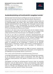 Auslandsmarketing soll kontinuierlich ausgebaut ... - RegioTrends