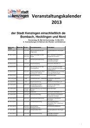 Veranstaltungskalender 2013 - RegioTrends