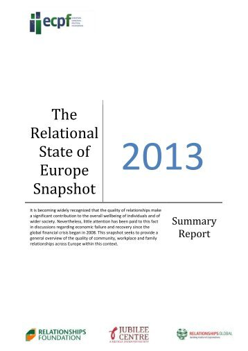 The Relational State of Europe Snapshot - Jubilee Centre