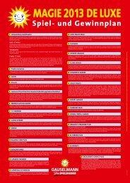 Download Spiel- und Gewinnplan Magie 2013 - De Luxe
