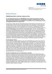 REHAB Basel: Information Wechsel im Verwaltungsrat