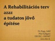 A Rehabilitációs terv azaz a tudatos jövő építése