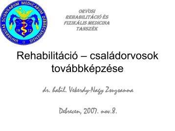 Rehabilitáció - DEOEC Rehabilitációs Tanszék