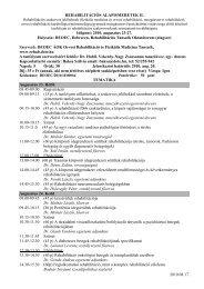Tematika - Rehabilitációs Tanszék