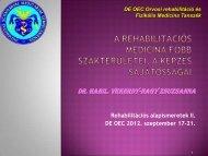 A rehabilitációs medicina helyzete - Rehabilitációs Tanszék