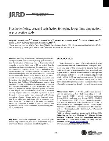 Prosthetic fitting, use, and satisfaction following lower-limb ...