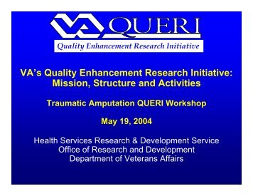 VA's Quality Enhancement Research Initiative - Rehabilitation ...