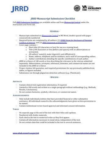 JRRD Manuscript Submission Checklist