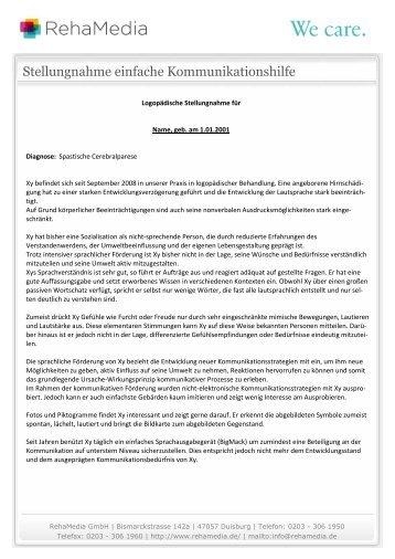 Stellungnahme einfache Kommunikationshilfe - Reha Media