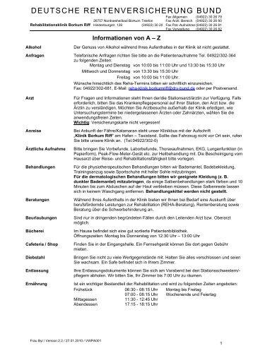 deutsche rentenversicherung bund - Rehazentrum Klinik Borkum Riff