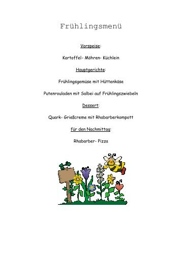 Frühlingsmenü - Rehazentrum Klinik Borkum Riff