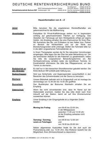 Hausinformationen von A - Z - Rehazentrum Klinik Borkum Riff